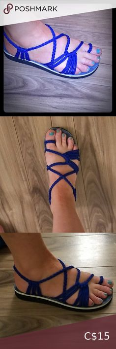 Puaka royal blue strappy sandals Great pair of very comfortable sandals. Never worn. Realizing I own far too many shoes, time to move on and have someone else love these. Comfortable and secure feeling. Puaka Shoes Sandals Cute Sandals, Gold Sandals, Open Toe Sandals, Strappy Sandals, Black Sandals, Shoes Sandals, Grey Workout Leggings, Aldo Heels, Tory Burch Sandals