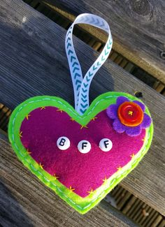 Handsewn BFF Felt Hanging Heart Decoration Green & Dark Pink by HandmadeNorfolk on Etsy Orange Center, Letter Beads, Hanging Hearts, Heart Decorations, Hand Sewing, Bff, Felt, Colours, Dark