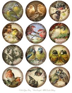 2.5 Circles ATC Bird Couples Collage Sheet Digital by jdayminis, $3.50