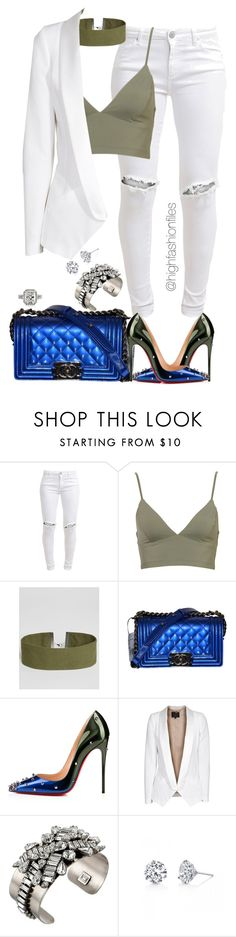"""""""Military x Cobalt"""" by highfashionfiles ❤ liked on Polyvore featuring FiveUnits, ASOS, Chanel, Christian Louboutin, SLY 010, DANNIJO and Harry Kotlar"""