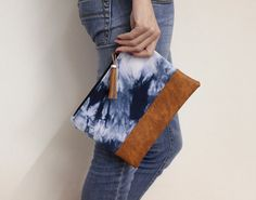 Blue Shibori Clutch Hand Dyed Purse Navy Tie Dye by AikoThreads, $35.00