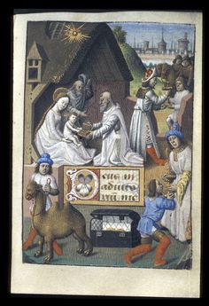 Adoration of the Magi from BL Eg f. The British Library, Public Domain Medieval Manuscript, Medieval Art, Illuminated Manuscript, Christian Prayers, Christian Art, Life Of Christ, Three Wise Men, Bible Covers, Book Of Hours