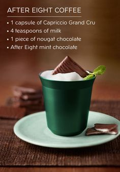 Celebrate your love of mint and chocolate with this recipe for After Eight Coffee made with Capriccio Grand Cru. Complete with nougat shavings on top, this sweet dessert drink is truly a one-of-a-kind delight.