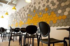 Stadmissionen School by Codesign using BAUX Träullit acoustic panels Acoustic Wall Panels, Sound Absorption, Lunch Room, Interior Walls, Interior Design, Restaurant Design, Mosaic Tiles, Indoor, Flooring