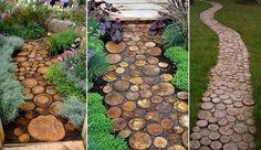 Tree trunk path for the garden!!! Autumn Trees, Outdoor Gardens, It's Amazing, Fallen Tree, Wood Walkway, Wooden Pathway, Garden Paths, Cut Garden, Garden Floor
