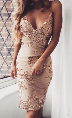 Sequined Lace V-Neck Party Dress