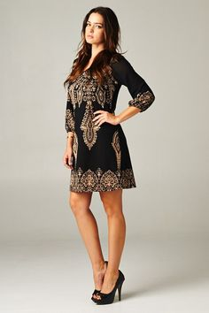 Margaret Dress in Ebony and Gold