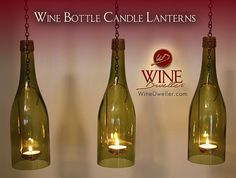 Our custom-made Wine Bottle Candle Lanterns are a wonderful addition to your patio, deck or garden area. The gentle glow brings your surroundings to a peaceful place. Wonderfully unique and eco-friendly.