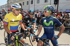 2014 giro-d-italia photos stage-10 Colombian gathering before Stage 10: Miguel Rubiano (Colombia), Sebastian Henao (Team Sky), Nairo Quintana (Movistar) in Modena