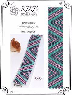 Peyote Pattern for bracelet - Pink slides peyote bracelet pattern in PDF…