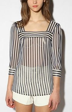 Celebrities who wear, use, or own Pins and Needles Striped Chiffon Blouse. Also discover the movies, TV shows, and events associated with Pins and Needles Striped Chiffon Blouse. White Shirts Women, Blouses For Women, White Ruffle Blouse, Urban Outfitters, Pretty Little Liars Fashion, Moda Chic, Red Blouses, Blouse Online, Blouse Designs