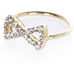 River Island Gold tone diamante bow finger top ring ($1.43) ❤ liked on Polyvore featuring jewelry, rings, accessories, bijoux, sale, river island, bow jewelry, bow ring, diamante jewelry and gold tone rings