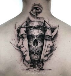 back neck tattoo masks and skull