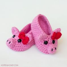Piggy baby booties #crochet pattern for sale from Hopeful Honey