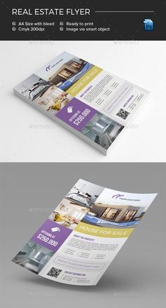 Real Estate Flyer by Desainlicious File Features: - Adobe Photoshop ( PSD file )- Size Bleed area- CMYK / 300 dpi- Customizable Text & Color (All colo Real Estate Flyer Template, Business Flyer Templates, Graphic Design Flyer, Flyer Design, Logo Design, Promotional Flyers, Real Estate Flyers, Marketing Flyers, Change Image