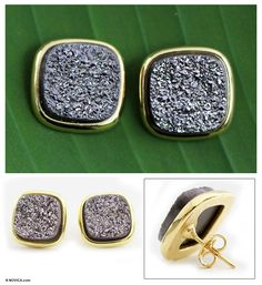 Gold plated drusy agate button earrings - Purple Galaxy | NOVICA