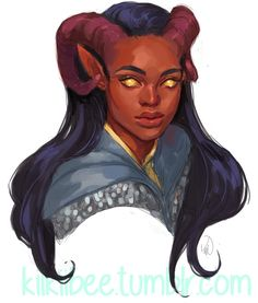 """kiikiibee: """" commission for @frillylittlecakes of her adorable Tiefling Cleric! """""""