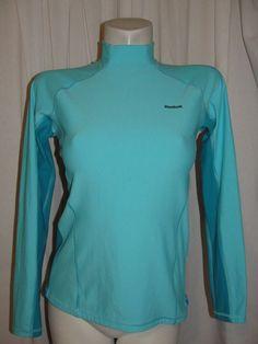 REEBOK Womens Top Yoga Workout Athletic Long Sleeve Shirt Blue Size M Play Dry #Reebok #ShirtsTops
