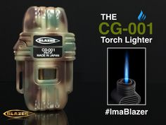 The CG-001 Butane Refillable Torch Lighter - Camouflage Green. Features a wind resistant blue torch flame, solid, durable construction. Refills for pennies with Blazer butane. Made in Japan since 1990   Made in Japan since 1990 #Butane #Lighter #Camping #BestTorchLighter #SmokeShop #Outdoors #SurvivalGear #Fuel #ZeroImpurities #CleanButane #FireStarter #UltraPurified