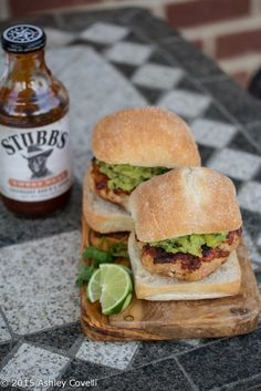 Bar-B-Q Turkey Burgers with Grilled Pineapple Guacamole Recipe | Big Flavors from a Tiny Kitchen #ad