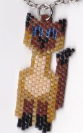 A Siamese cat pendant I beaded with Delica beads using a pattern in this book