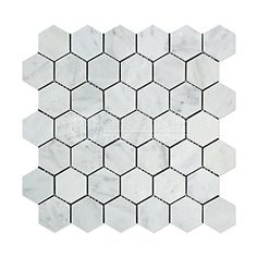 Carrara White Italian (Bianco Carrara) Marble 2 inch Hexagon Mosaic Tile, Polished - Perfect for use in any interior / exterior (residential or commercial) project; • kitchen backsplash, • bathroom shower floor or wall, • pool surround, spa, fountain, barbecue, etc.Please note that natural stone does vary in pattern and color, so each piece will be unique, which i...