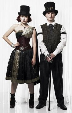 Steampunk men's and women's costumes