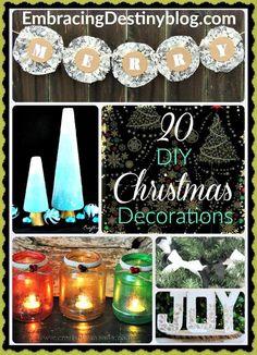 20 DIY Christmas Decorations to inspire your creativity. Day 3 of 5 Days of a Homemade Christmas at embracingdestinyblog.com