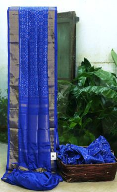 ROYAL BLUE IKKAT SILK IS ELABORATELY WOVEN ALL OVER. THE GOLD ZARI BORDER AND PALLU MAKES THIS SAREE DELIGHTFUL.