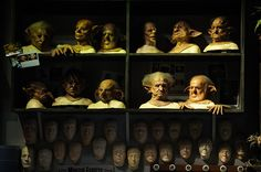 Masks of the house elves on display in the Creature Shop at The Making of Harry Potter