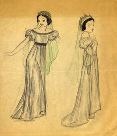 Disney's Snow White early character design sketch - I love this dress so much more!