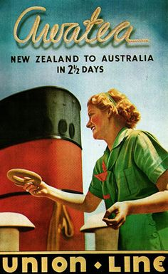 Union-Line Awatea New Zealand Australia - Mad Men Art: The Vintage Advertisement Art Collection Vintage Advertisements, Vintage Ads, Vintage Images, Bus Travel, Travel Tips, Brochure Cover, Vintage Travel Posters, Australia Travel, Trip Planning