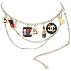 Preowned Chanel Enamel Charm Belt Necklace Make-up - Silver (€2.135) ❤ liked on Polyvore featuring jewelry, beige, pre owned jewelry, karl lagerfeld jewelry, karl lagerfeld, lock charm and charm jewelry