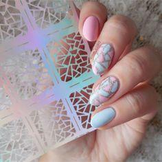 12 팁/시트 불규칙한 삼각형 패턴 네일 비닐 네일 아트 매니큐어 스텐실 스티커 JV206 #23528