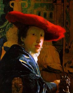 """Jan Vermeer (1632-1675)  Girl with the Red Hat, circa 1665  Oil on panel  9"""" H x 7 1/16"""" W  National Gallery of Art, Washington, DC"""