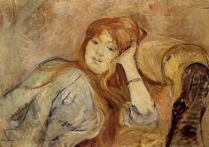 Young Girl Leaning On Her Elbow 1887 Poster by Morisot Berthe Manet, Mary Cassatt, Renoir, French Impressionist Painters, Berthe Morisot, Muse Art, Oil Painting Reproductions, Whistler, Portrait Art