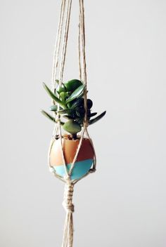 Make a festive home for your tiny succulents with a hanging mini Easter egg macrame garden!