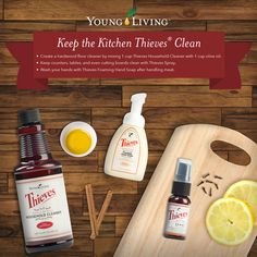 Cleaning in the Kitchen with Young Living Thieves products