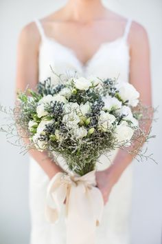 Blue & white bouquet   SouthBound Bride   http://www.southboundbride.com/real-wedding-at-molenvliet-christelli-heinrich   Credit: Catherine Mac