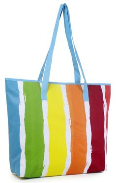 Multi color stripe canvas tote bag