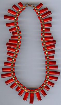 Vintage Matisse Renoir Red Enamel and Copper Necklace