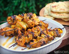 This chicken tikka masala kabob recipe is perfect for family dinner or entertaining guests. Indian food is packed with flavor, and this recipe is one to keep. Pollo Tikka Masala, Chicken Tikka Masala, Garam Masala, Yummy Chicken Recipes, Yum Yum Chicken, 99 Chicken, Chicken Ideas, Boneless Chicken, Grilled Chicken