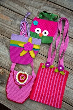 These bright and colorful purses are hand-crocheted by women in India.  Approximately 5x5 inches.
