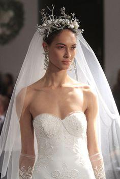 Textured bun and a beach-inspired bridal crown at the Naeem Khan Bridal Spring 2016 show // Wedding Hair and Makeup Ideas From Bridal Fashion Week