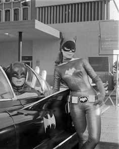 Adam West as Batman and Yvonne Craig as Batgirl