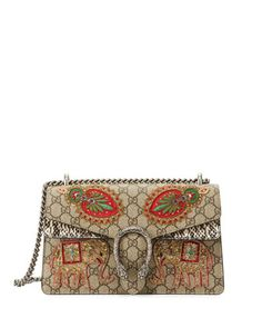 Embroidered+GG+Supreme+Shoulder+Bag,+Brown+Pattern++by+Gucci+at+Bergdorf+Goodman.