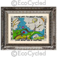 New to EcoCycled on Etsy: Dr Seuss Oh The Places You'll Go 1 - Off to Great Places on Vintage Upcycled Dictionary Art Print Book Art Print Adventure (10.00 USD)