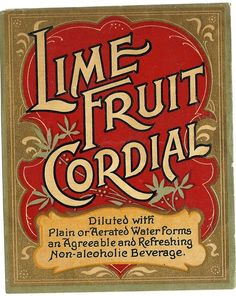 Lime Fruit Cordial Label