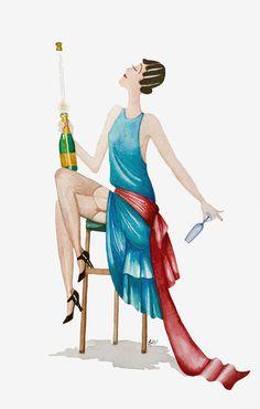 ekeyart: Ilustración en acuarela de una flapper  /  Illustration in watercolour