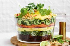 Asian layered rice salad